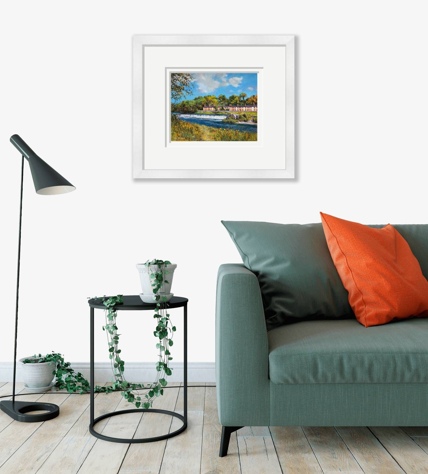 Large framed - Cottages by the Weir, Lucan, Co Dublin - 299 by Chris McMorrow